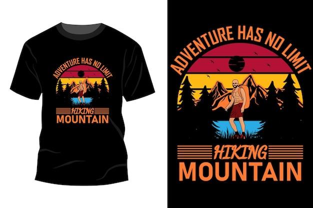 A aventura não tem limites caminhadas montanha t-shirt maquete design vintage retro