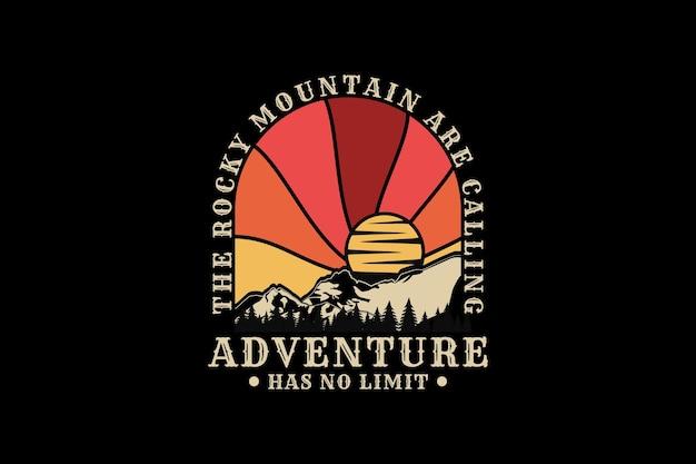 .a aventura não tem limites, design silhueta estilo retro