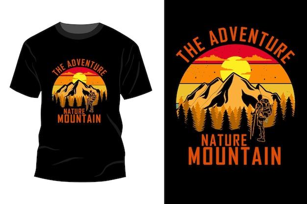 A aventura natureza montanha t-shirt maquete design vintage retro
