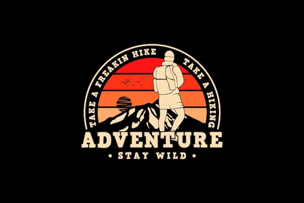 A aventura permanece selvagem, projete um estilo retro de silte.