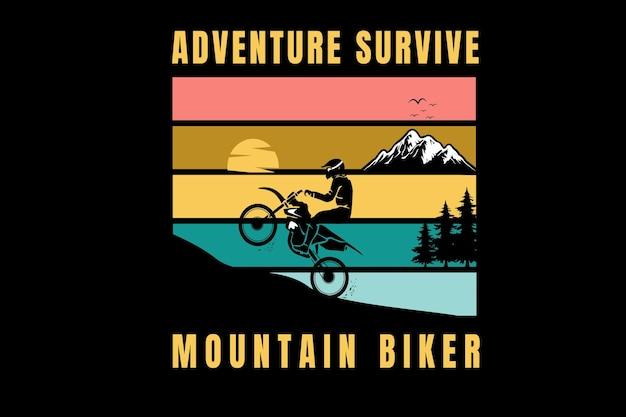 A aventura sobrevive ao ciclista de montanha cor laranja amarelo e verde