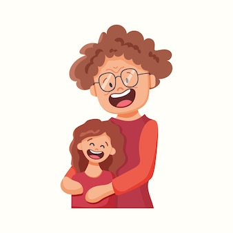 A avó abraça a neta. ilustração vetorial em estilo simples