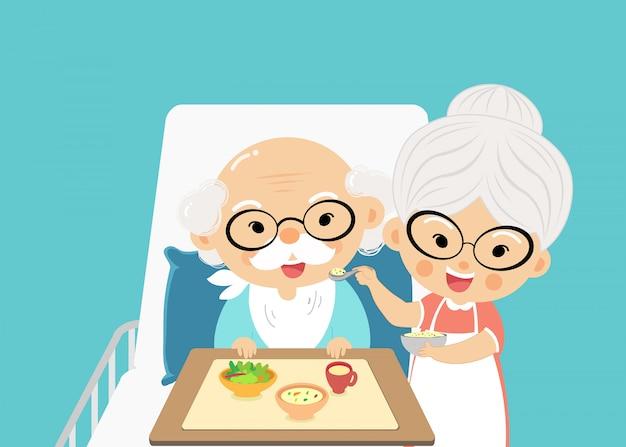 A avó cuida da alimentação e toma um remédio do avô com amor e preocupação quando ele adoece.