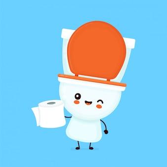 A bacia de sorriso feliz bonito segura o papel higiênico.