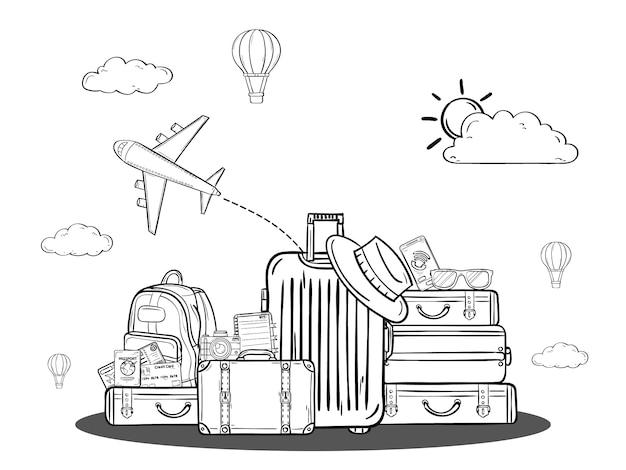A bagagem dos desenhos animados da tração da mão da garatuja e o ativo dos acessórios viajam em todo o mundo o conceito.