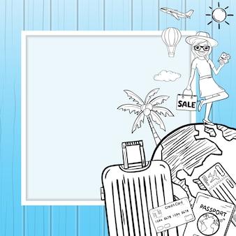 A bagagem e os acessórios dos desenhos animados da mulher da garatuja viajam em torno do fundo do verão do conceito do mundo