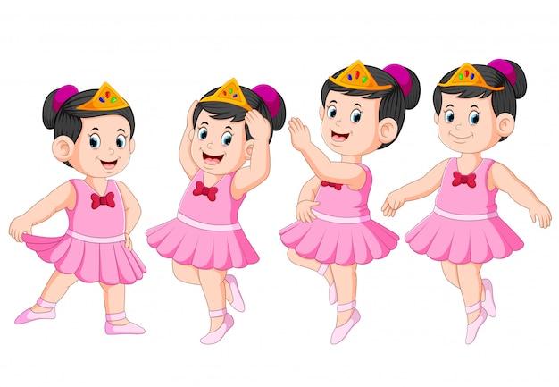 A bailarina está dançando com o lindo vestido