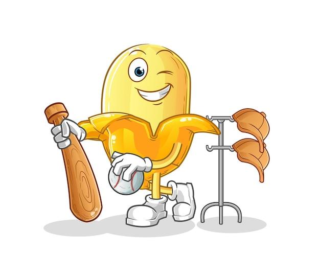 A banana jogando mascote de beisebol. desenho animado