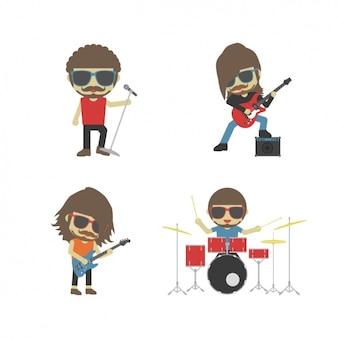A banda de rock tocando instrumentos