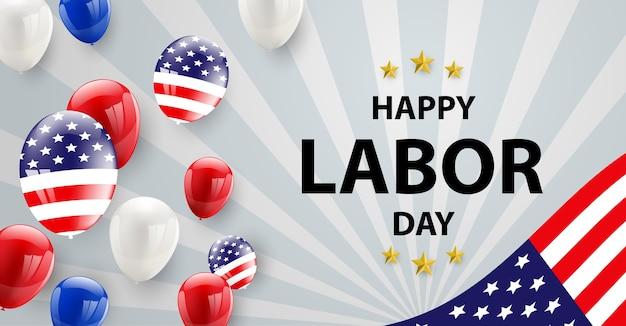 A bandeira americana do projeto de cartão do dia do trabalhador balloons o fundo.