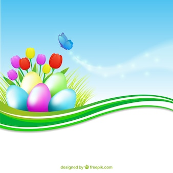 A bandeira colorida com ovos de páscoa
