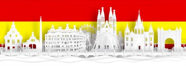 A bandeira da espanha e os marcos famosos no papel cortaram a ilustração do vetor do estilo.