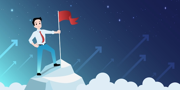 A bandeira do homem de negócios na montanha superior e vê o céu maravilhoso, conceito do sucesso.