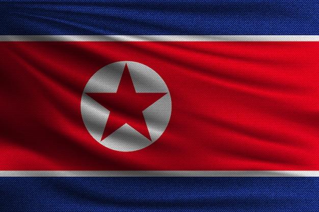 A bandeira nacional da coréia do norte.