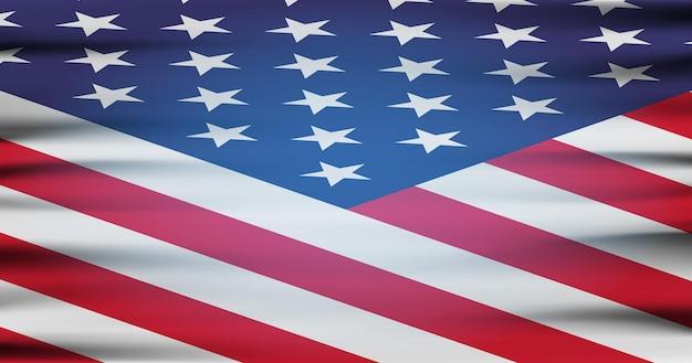 A bandeira nacional dos estados unidos da américa. ilustração plana moderna. bandeira americana para o dia da independência.