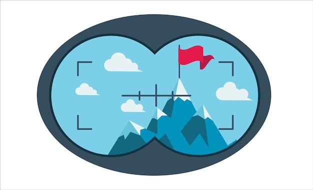 A bandeira no topo da montanha como símbolo de conquista. veja através de binóculos.