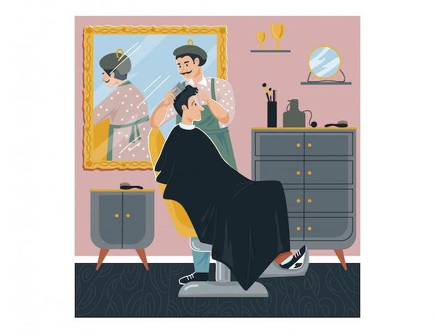 A barbearia do homem, homem do caráter do cabeleireiro cortou a pessoa do cabelo, penteado moderno da forma no branco, ilustração.