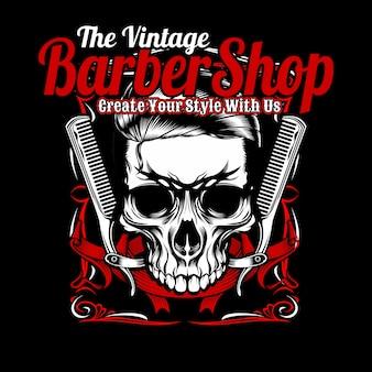 A barbearia vintage, crânio e pente.