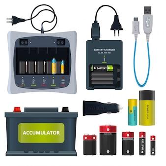 A bateria de lítio recarregável e os acumuladores diferentes isolam-se no branco.