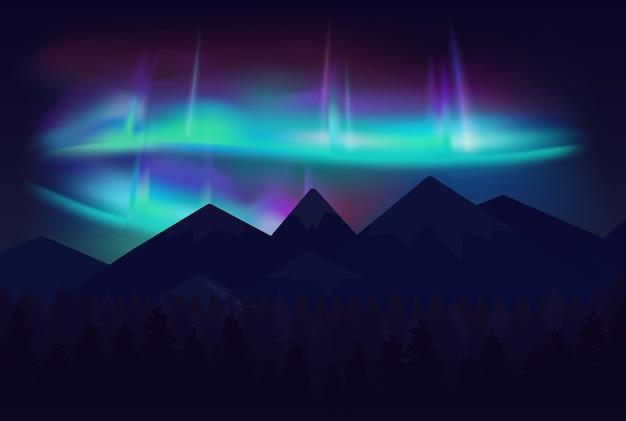A bela aurora boreal da aurora boreal no céu noturno sobre as montanhas