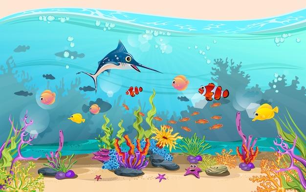 A beleza da paisagem subaquática. peixes e recifes de coral são lindos.