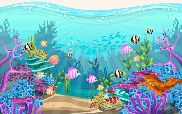A beleza da vida subaquática com diferentes animais e habitats.