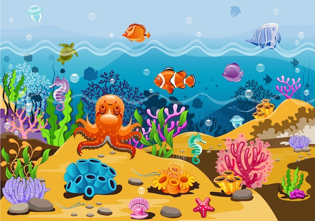 A beleza dos peixes e animais marinhos.
