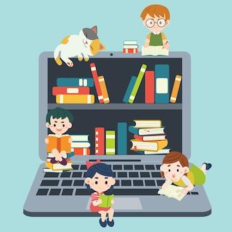 A biblioteca virtual em um laptop e personagem de criança lendo um livro em estilo simples. ilustração sobre educação on-line