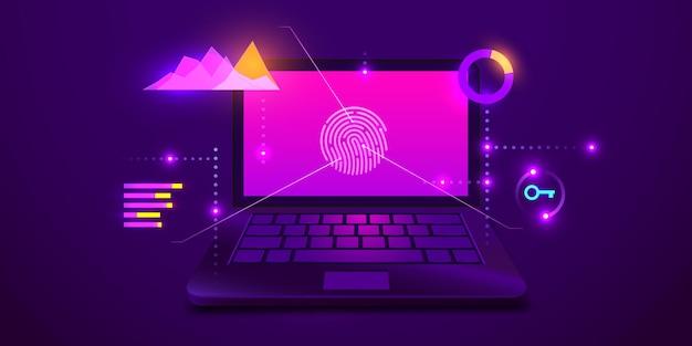 A biometria da varredura de impressão digital identifica a autorização na proteção e segurança dos dados do computador