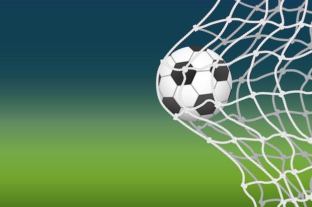 A bola de futebol entra na ilustração do gol