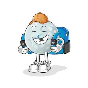 A bola de golfe vai para a escola. personagem de desenho animado