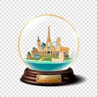 A bola de vidro com pontos de referência
