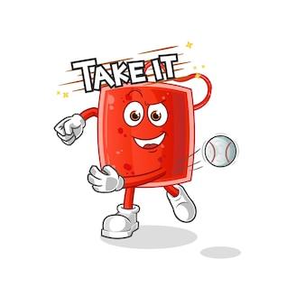 A bolsa de sangue jogando beisebol. desenho animado