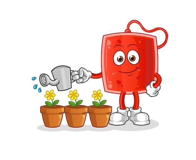 A bolsa de sangue regando o mascote das flores. desenho animado