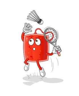 A bolsa de sangue se espatifa no desenho do badminton. mascote dos desenhos animados