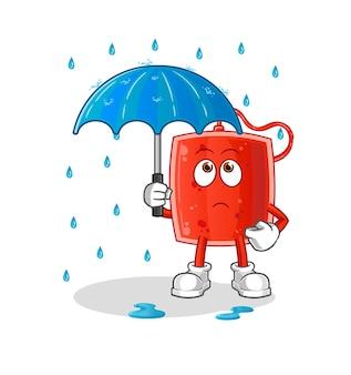 A bolsa de sangue segurando uma ilustração de guarda-chuva.