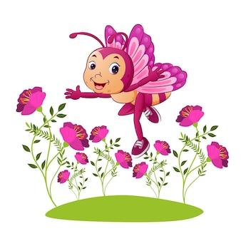 A borboleta feliz está voando no jardim cheia de flores de ilustração