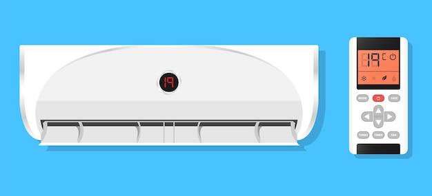 A brisa de resfriamento do ar condicionado sopra o frio controle remoto
