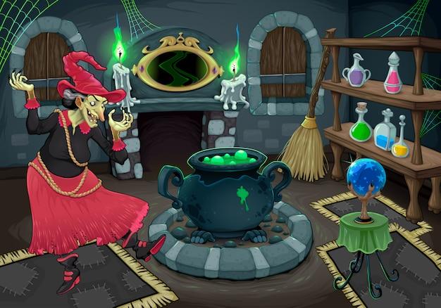 A bruxa em seu próprio quarto