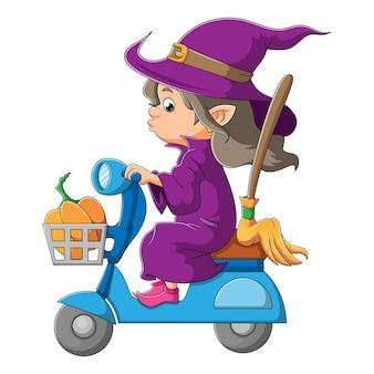 A bruxa está andando de moto com abóbora na cesta de ilustração