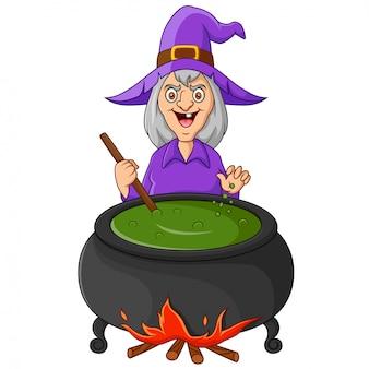 A bruxa está mexendo a poção