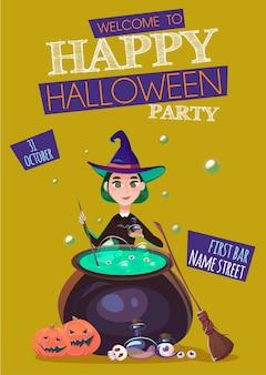 A bruxa está preparando uma poção ao lado do pôster da festa de halloween do caldeirão