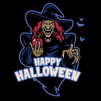 A bruxa mascote segurando a maçã