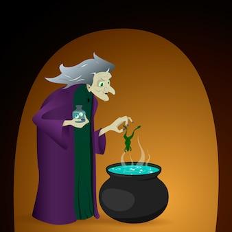 A bruxa prepara uma poção no caldeirão. ilustração para o halloween