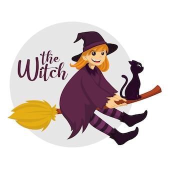A bruxinha voando em uma vassoura com o gato preto no dia do halloween