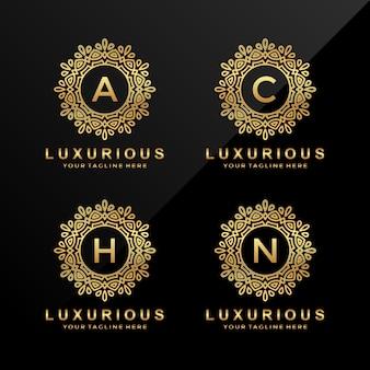 A, c, h, n logotipo de letra de luxo