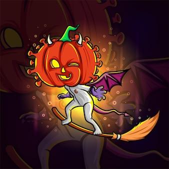 A cabeça de abóbora do diabo da bruxa esport design de logotipo de ilustração