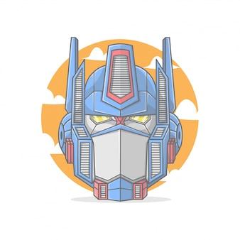 A cabeça de um formidável líder robô