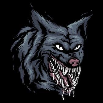 A cabeça de um lobo faminto isolada no preto