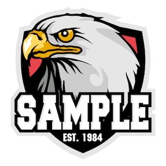 A cabeça de um mascote de logotipo de esporte de águia